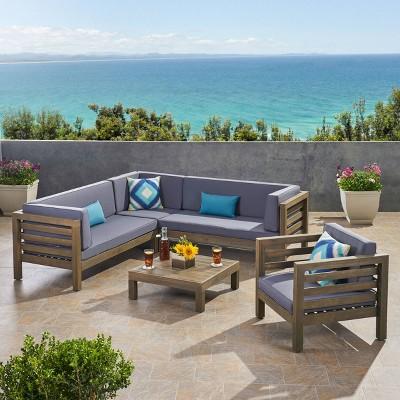 Oana 5pc Acacia Wood Sectional Sofa & Club Chair Set Gray/Dark Gray - Christopher Knight Home
