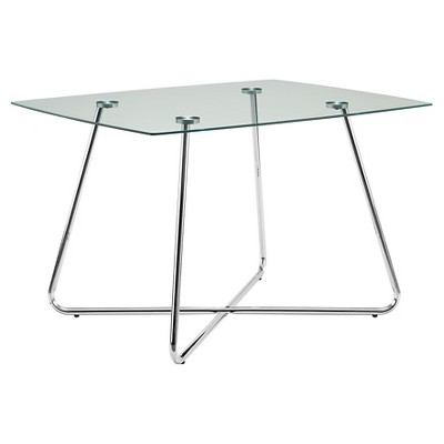 Metal/Glass Dining Table - Chrome - EveryRoom