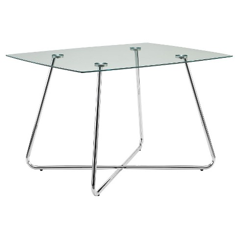 Metal Gl Dining Table Chrome Everyroom