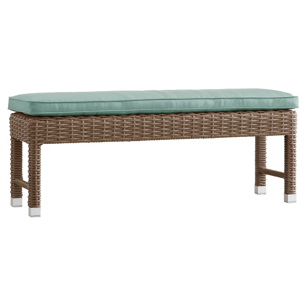 Riviera Pointe Wicker Patio Bench with Cushion - Mocha (Brown)/Blue - Inspire Q