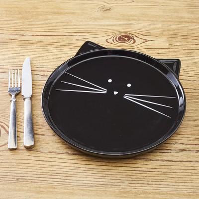 Lakeside Purr-Fect Cat Plate - Earthenware Feline Head Shaped Plate