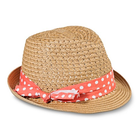 Women's Woven Ferdora Hat with Coral Polka Dot Sash - Tan - image 1 of 1