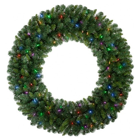 philips 48 christmas prelit artificial pine christmas wreath bicolor led lights target