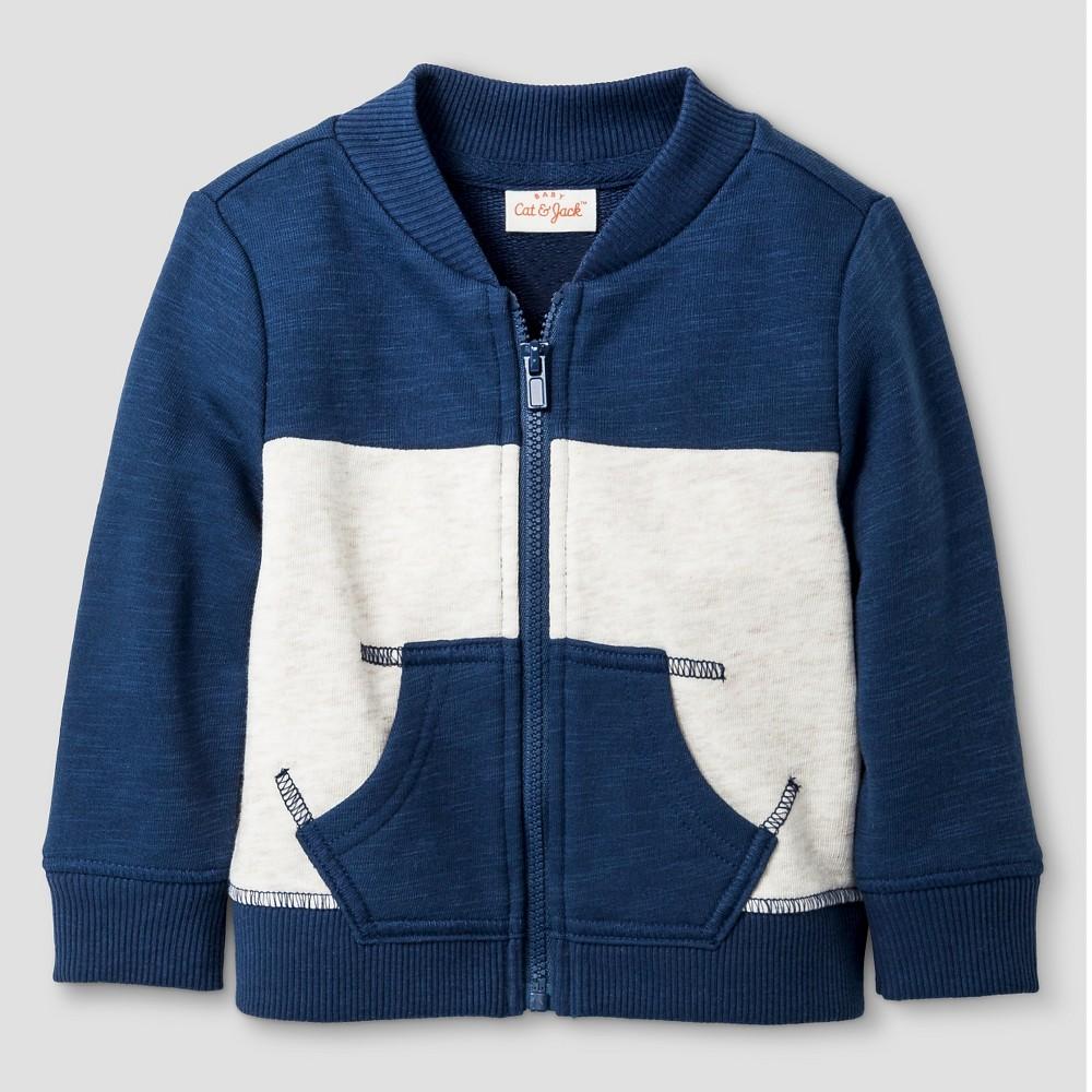 Baby Boys' Color Block Jacket - Cat & Jack Blue/Oatmeal 18M