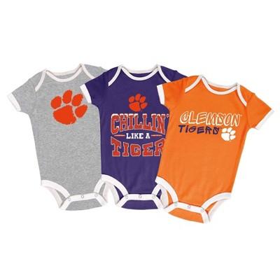 NCAA Clemson Tigers Baby Boys' Short Sleeve 3pk Bodysuit Set - 3-6M