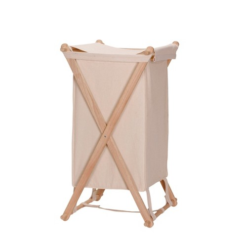 Household Essentials Wood X Frame Laundry Hamper