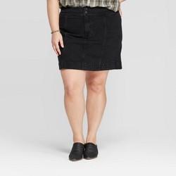 Women's Plus Size Mini Denim Skirt - Universal Thread™ Black