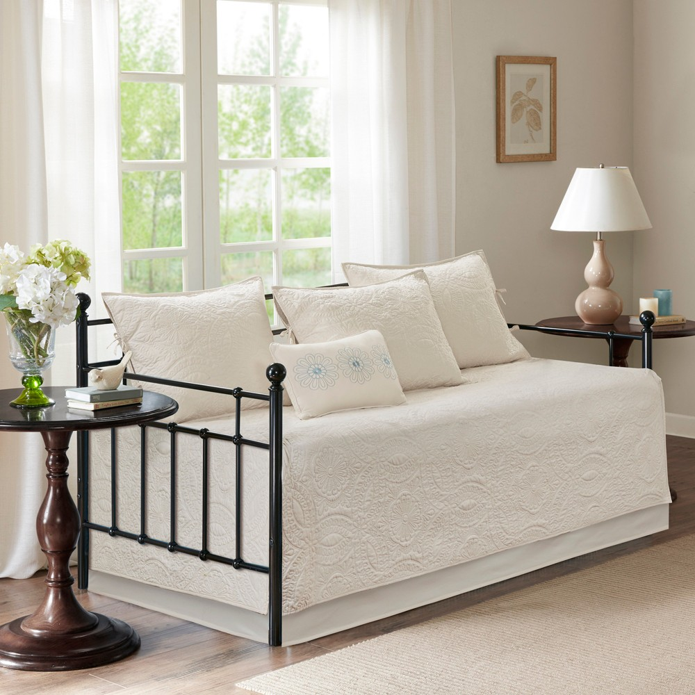 6pc Natalie Cotton Rich Filling Daybed Set Ivory