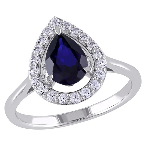 2/5 CT. T.W. Simulated White Sapphire with 1.8 CT. T.W. Simulated Blue Sapphire Shared Ring in Silver - image 1 of 3