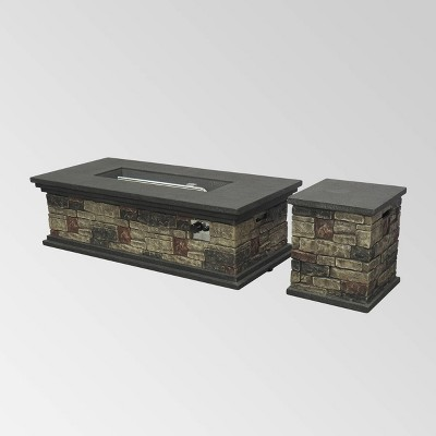 Chesney Outdoor Rectangular Lightweight Concrete Fire Pit - Brown - Christopher Knight Home