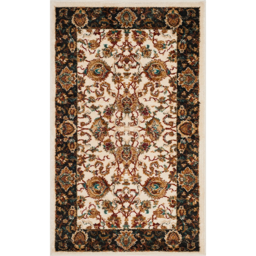 3'X5' Floral Loomed Accent Rug Ivory/Dark Gray - Safavieh