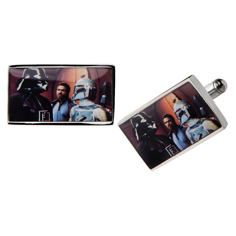 Image of Men's Star Wars Darth Vader and Boba Fett Graphic Stainless Steel Rectangular Cufflinks, Size: Small, Silver