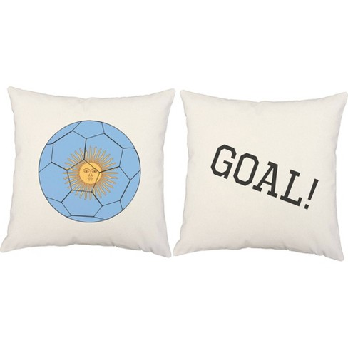 Set Of 2 Argentina Flag Soccer Ball Throw Pillows 18x18 Inch Square White Indoor Outdoor Cushions Roomcraft Target