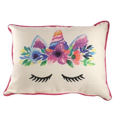 """Home Decor 14.0"""" Unicorn Pillow Lumbar Horn Mystical  -  Decorative Pillow"""