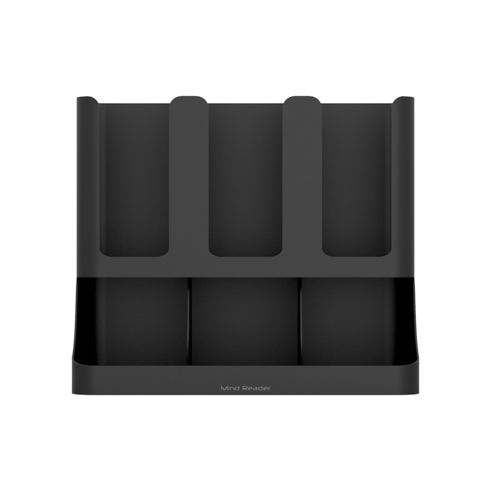 Image of Mind Reader 6 Compartment Upright Coffee Condiment and Cups Organizer - Black