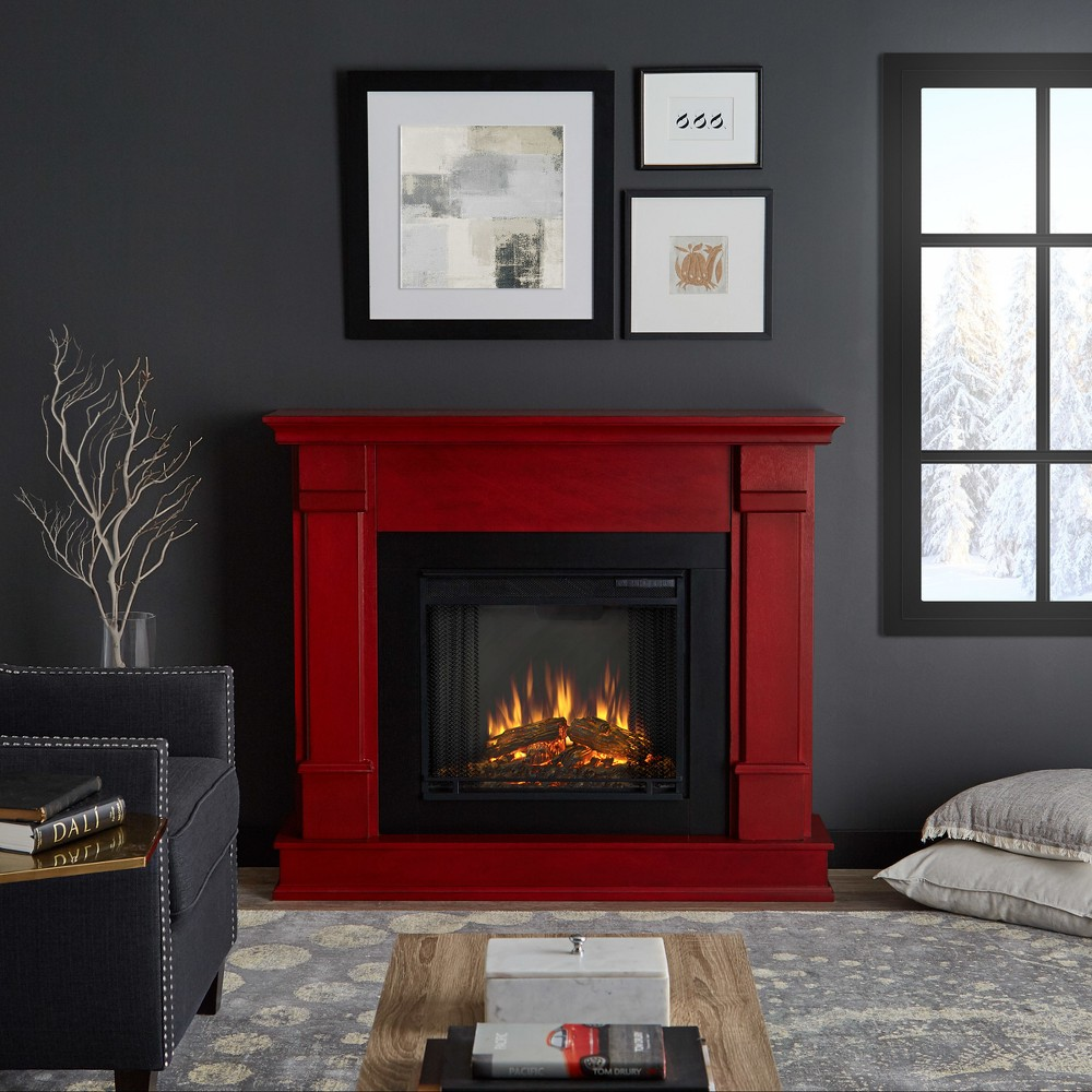 Real Flame Silverton Indoor Electric Fireplace - Rustic Red, Black