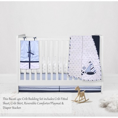 Bacati - Little Sailor Anchor Boat Blue Navy 4 pc Crib Bedding Set with Diaper Caddy