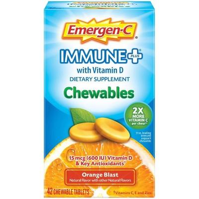 Emergen-C Immune+ Dietary Supplement Chewable Tablets with Vitamin D - Orange Blast - 42ct