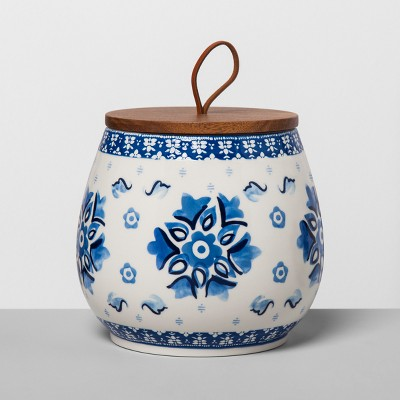 Floral Stoneware Canister with Wood Lid L Blue/White - Opalhouse™