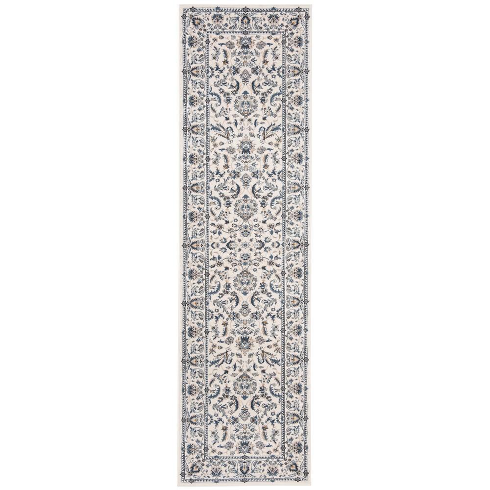 2'3X6' Loomed Floral Runner Rug Ivory/Blue - Safavieh, White