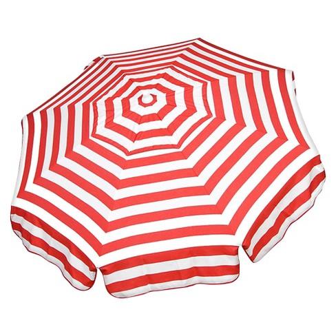 Parasol 6 Italian Aluminum Collar Tilt Beach Umbrella Red White Stripe