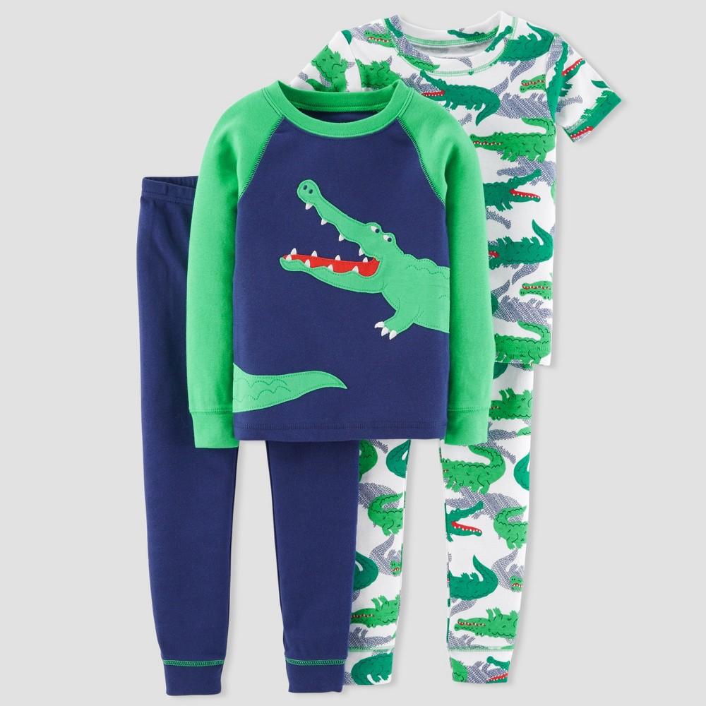 Toddler Boys' 4pc Gator Pajama Set Navy 2T, Blue