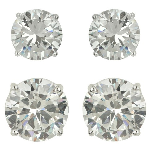 Sterling Silver Cubic Zirconia Duo Round Stud Earring Set - Clear - image 1 of 1