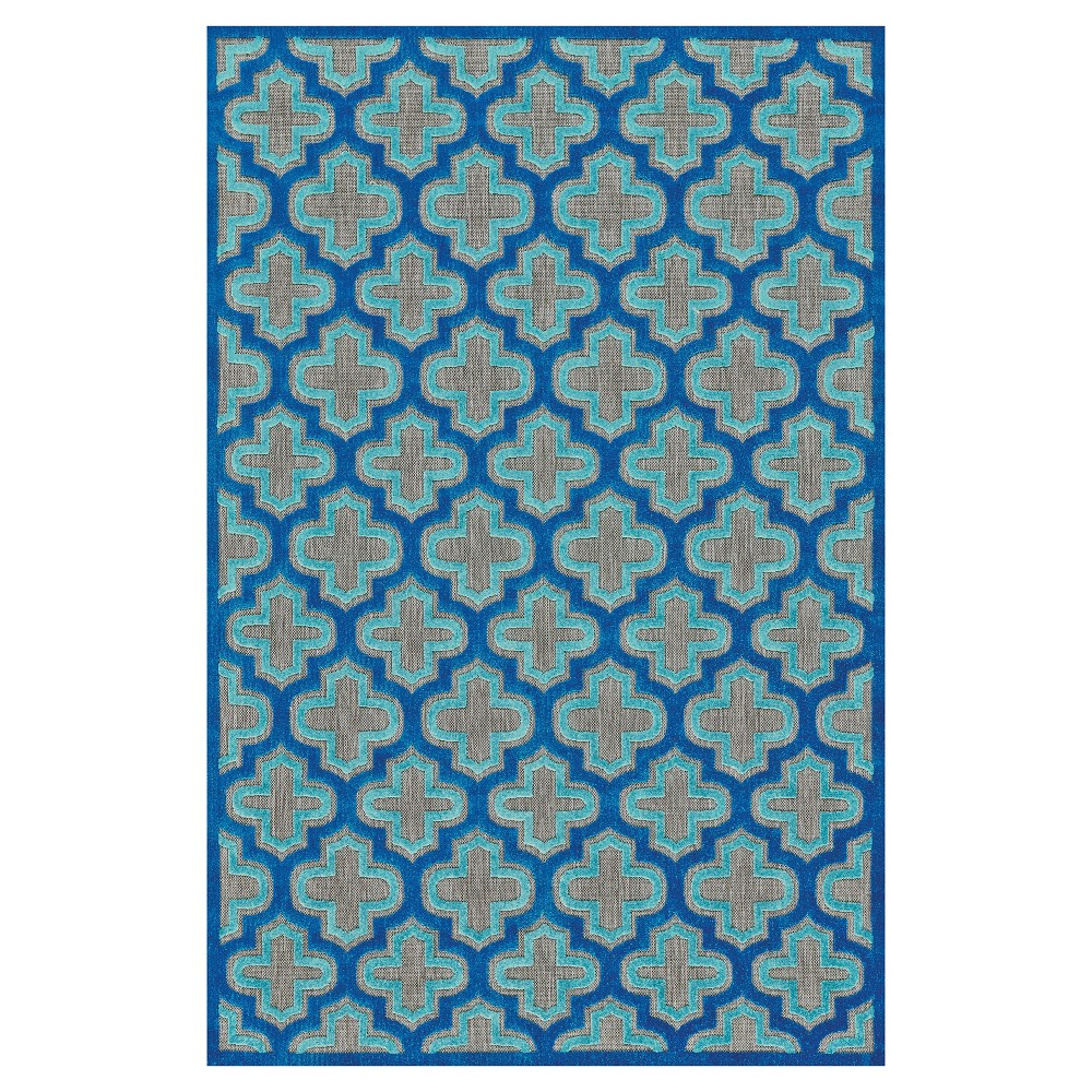 Quatrefoil Design Loomed Accent Rugs Black/Navy