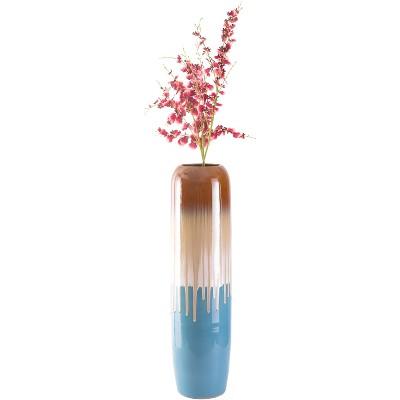 "Uniquewise 37.5"" Cylinder Tricolor Drip Hand Painted Ceramic Handmade Floor Vase"