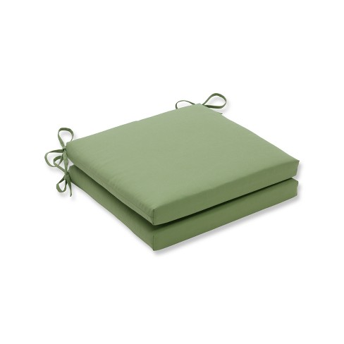 Indoor/Outdoor 2pc Canvas Ginko Green Squared Corners Seat Cushion - Pillow Perfect - image 1 of 1