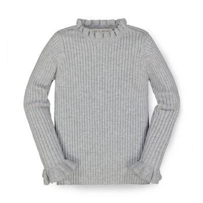 Hope & Henry Girls' Long Sleeve Ruffle Shoulder Sweater, Kids