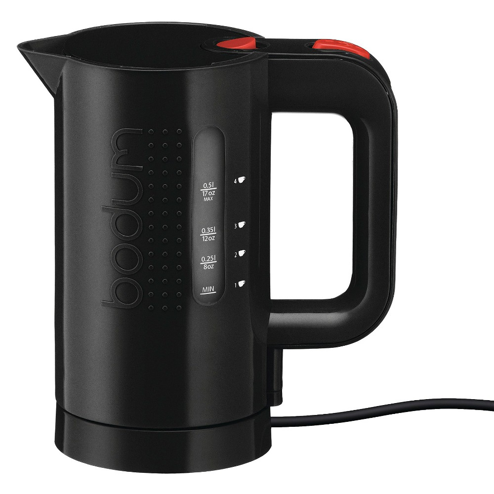 Electric water kettle, 0.5 l, 17 oz, Black The Bodum Bistro electric water kettle is designed to rapidly boil with energy-saving efficiency and is ideal for heating water for coffee, tea, instant soups, and more. The easy to read water level indicator prevents waste of water and energy. The electric water kettle has a steam sensor for automatic shut-off and added safety. Color: Black.