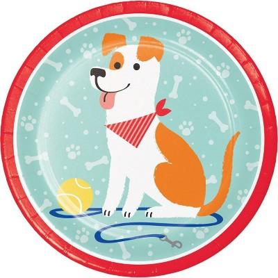 24ct Dog Print Disposable Dinner Plates