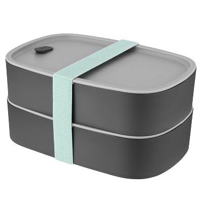 BergHOFF Leo 3Pc 1.7 Qt Dual Bento Box Set with Strap, Gray & Mint