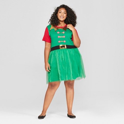 Womens Plus Size Elf Dress With Tulle 33 Degrees Juniors Green