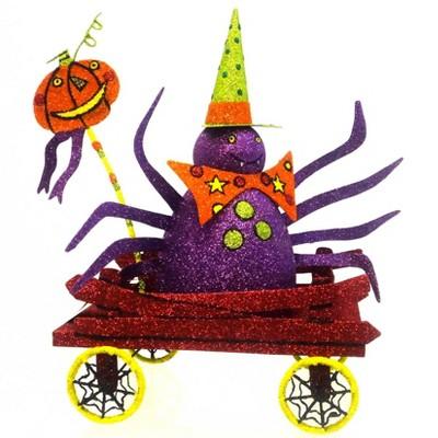 Halloween Booville Spider Wagon Pumpkin Glittered  -  Decorative Figurines