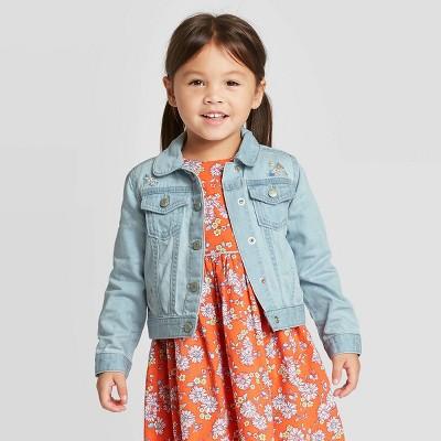 OshKosh B'gosh Toddler Girls' Embroidered Jean Jacket - Blue 18M