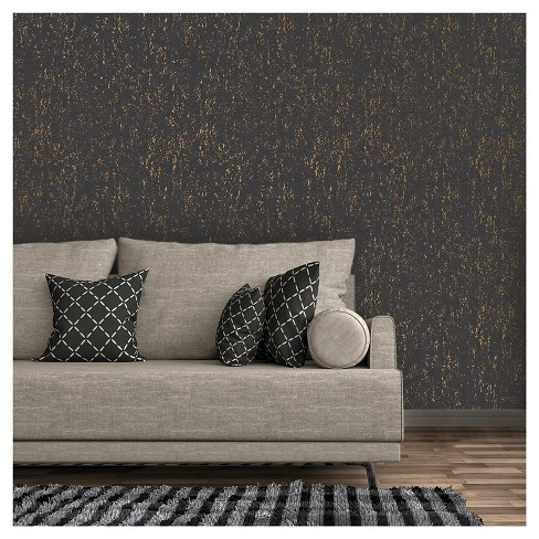 Devine Color Metallic Texture Peel and Stick Wallpaper - Black and Karat - image 1 of 8