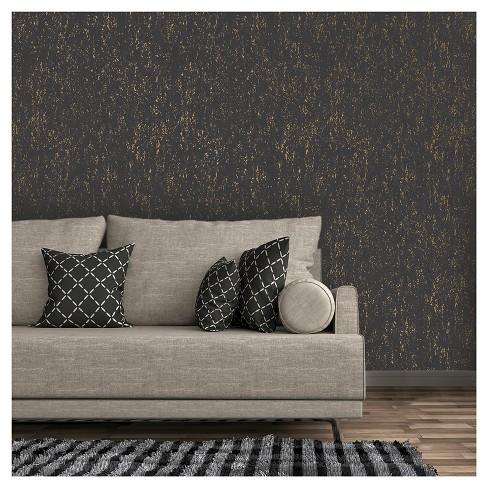 Devine Color Metallic Texture Peel And Stick Wallpaper Black And Karat