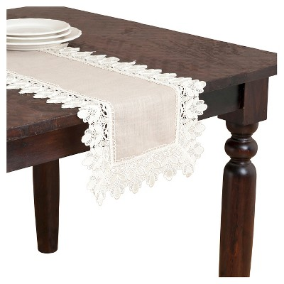 Lace Trimmed Runner Taupe (16 x72 )