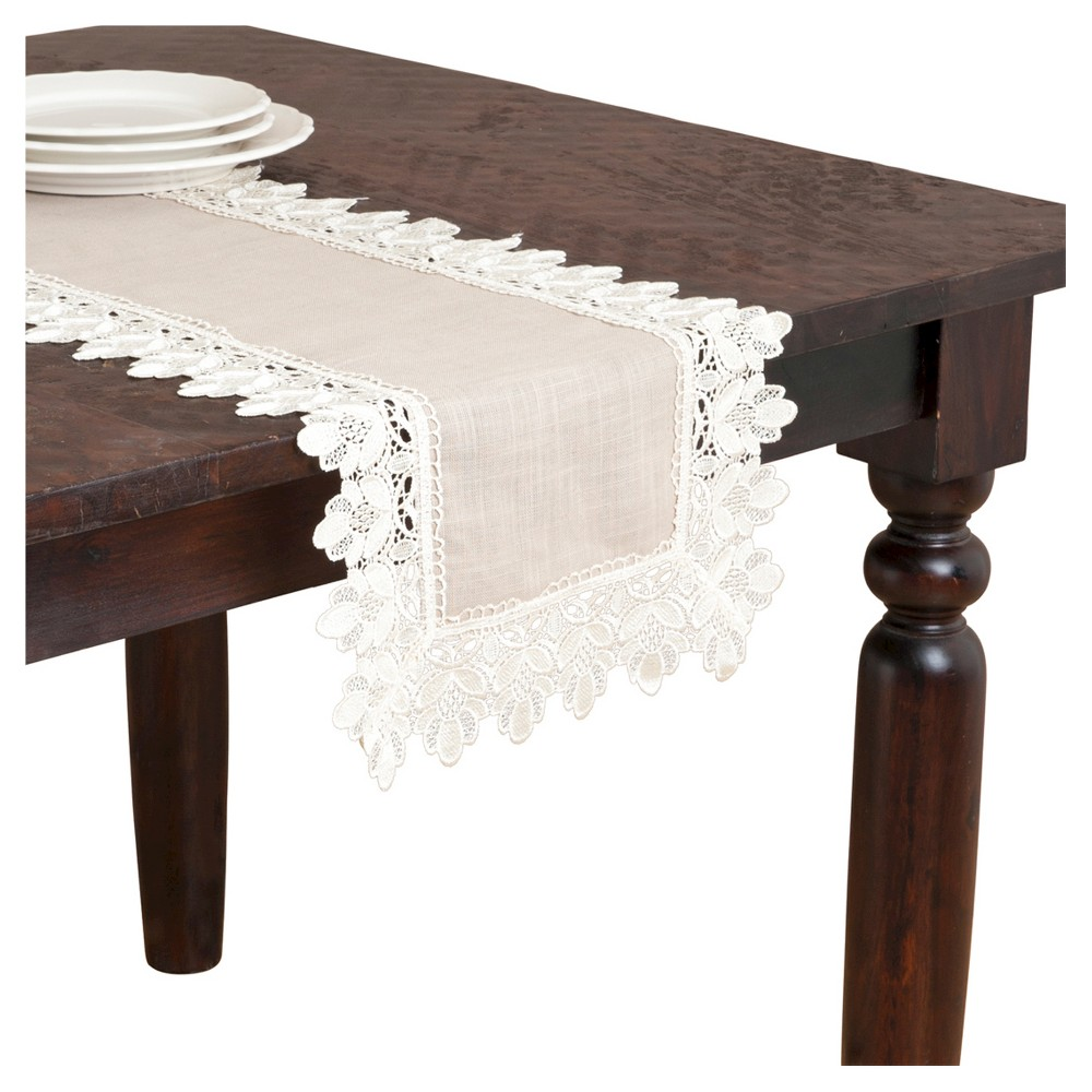 Lace Trimmed Runner Taupe 16 X36