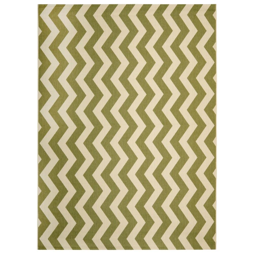 Wels Rectangle 8'X11' Patio Rug - Green/Beige - Safavieh