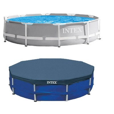 Intex 10 Foot x 30 Inches Pool w/ 10-Foot Round Above Ground Pool Cover