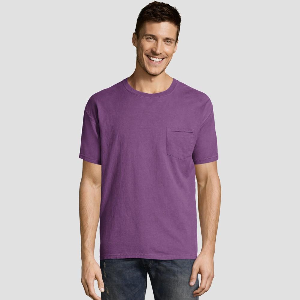 Hanes Mens Big & Tall Short Sleeve 1901 Garment Dyed Pocket T-Shirt - Purple 3XL Discounts