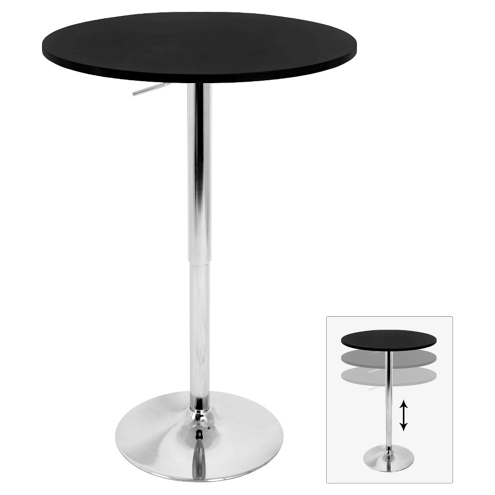 Elia 27.5 Contemporary Adjustable Pub Table Black Wood Top with Chrome Frame - LumiSource