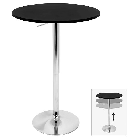 "Elia 27.5"" Contemporary Adjustable Pub Table Black Wood Top with Chrome Frame - LumiSource - image 1 of 4"