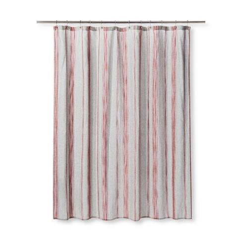 Woven Stripe Shower Curtain Radiant Gray