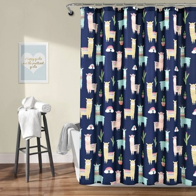 "72""x72"" Make A Wish Southwest Llama Cactus Shower Curtain Single - Lush Décor"