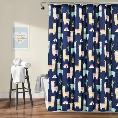 "72""x72"" Make A Wish Southwest Llama Cactus Shower Curtain Single - Lush Décor"