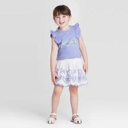 Toddler Girls' 2pc 'Hello Spring' Top and Skirt Set - Cat & Jack™ Violet/White